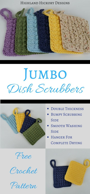 Jumbo Dish Scrubbers - Free Crochet Pattern | Pinterest | Kitchen ...