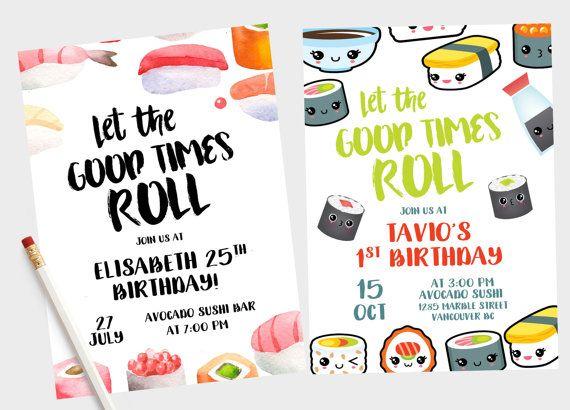 Sushi Invitation Birthday By GypsySoulArtStudio