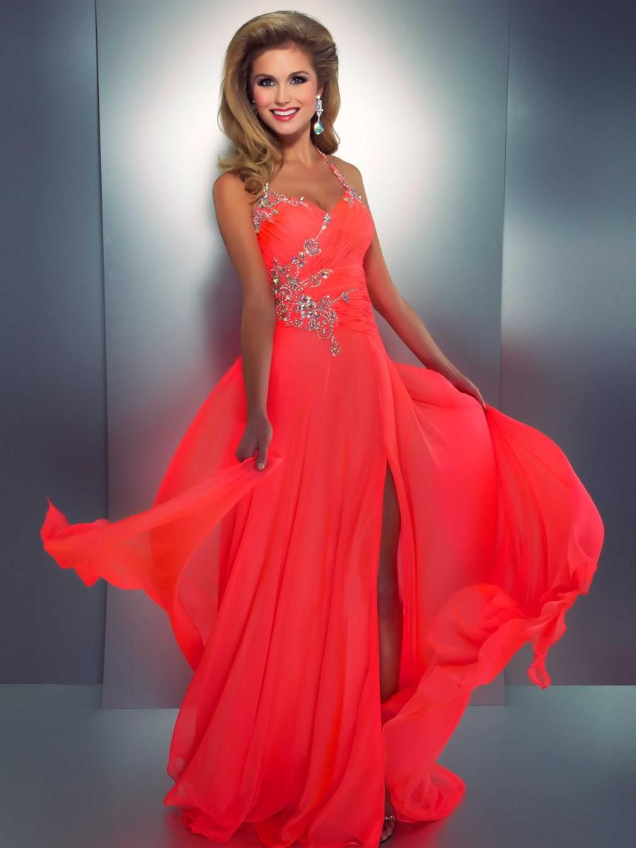 Neon short coral prom dresses new photo