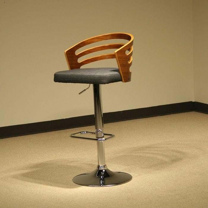 AC Pacific Modern Wood Adjustable Height Swivel Bar Stool With Cushion U0026  Reviews | Wayfair