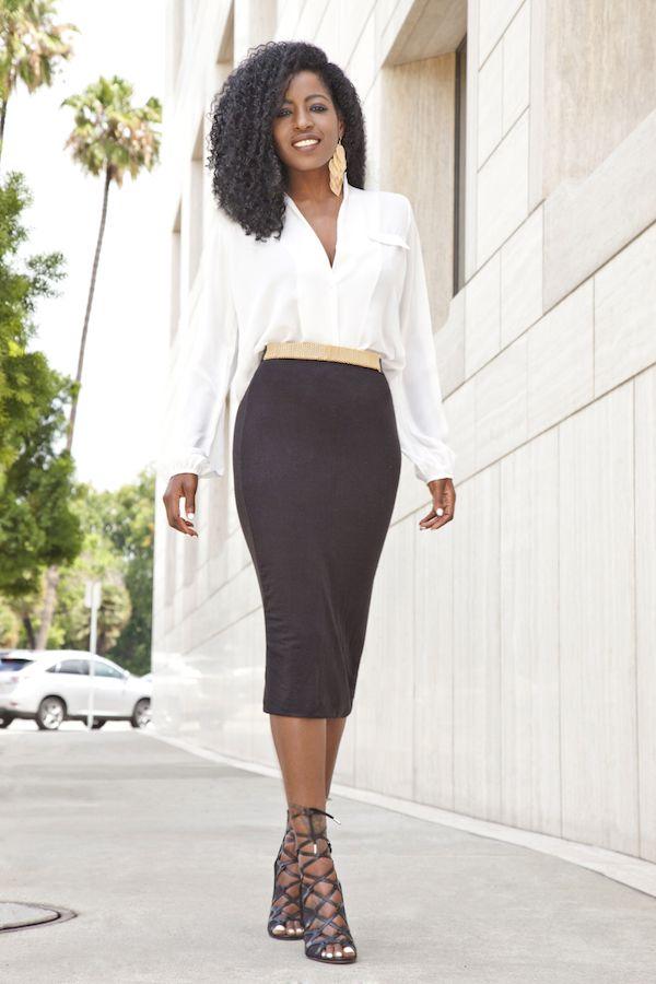 32a18b960d952 Long Sleeve Blouse + Midi Pencil Skirt (Style Pantry)
