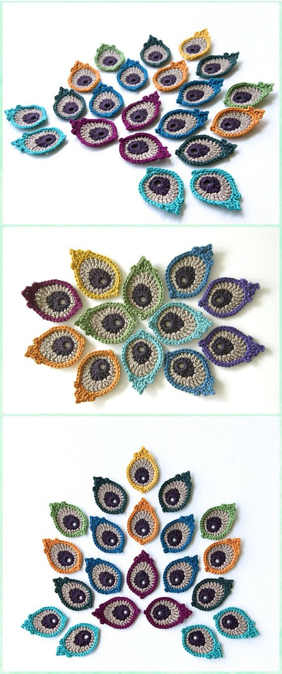 16 Crochet Peacock Feather Free Patterns [Video] | Ganchillo, Tejido ...