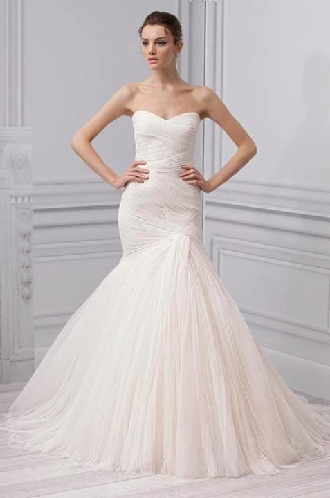 English Net Tulle Fit N Flare Bridal Gown By Monique Lhuillier