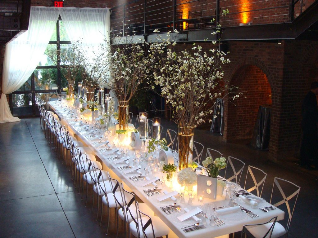 Table scape at the Foundry. Tall Branches, low buds Long