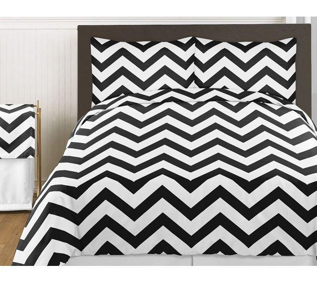 Sweet Jojo Designs Black and White Chevron Collection 3pc Full ... : grey and white chevron quilt - Adamdwight.com