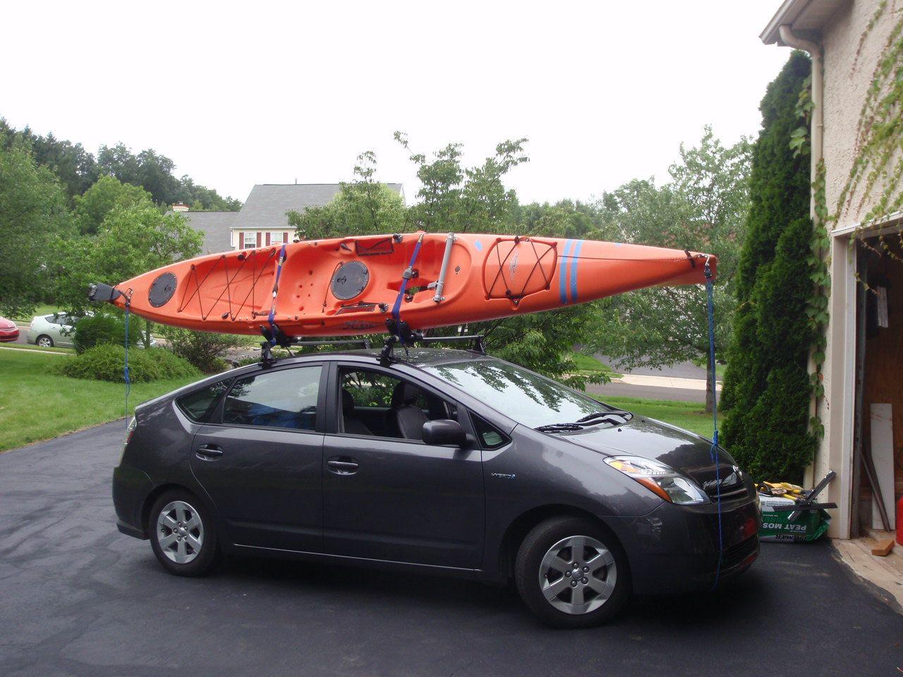 Show Your Toyota Prius Car Topping A Kayak Kayaking And Kayak Fishing Forum Kayak Roof Rack Toyota Prius Prius Car