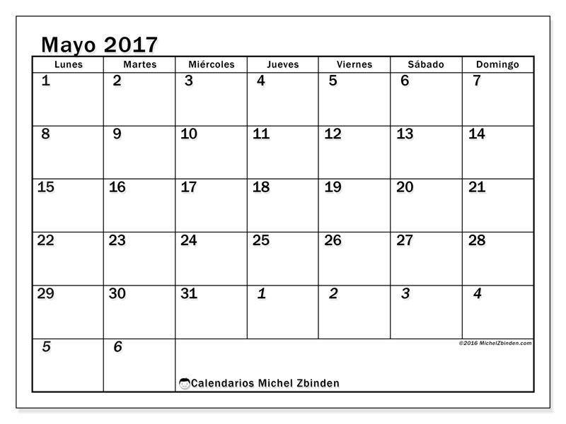 Gratis calendarios para mayo 2017 para imprimir espa a for Horario bancos madrid