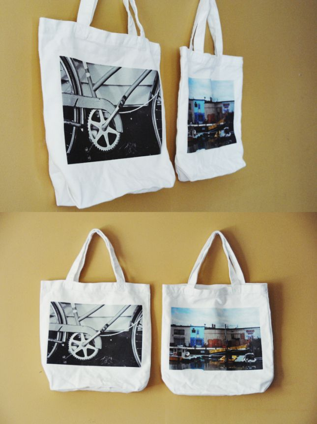 Photo Totes - Great Gift Idea! Put each kids' pic on their tote - no question of whose it is!