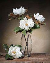 Small White Silk Tree Magnolia Bloom Stems Faux Magnolia Stem Pieces Silk Flower Arrangements Flower Arrangements Vintage Flower Arrangements
