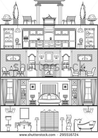 house interior in antique style silhouette. Raster copy - stock photo