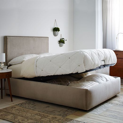 Tall Upholstered Nailhead + Pivot Storage Bed | West Elm ...