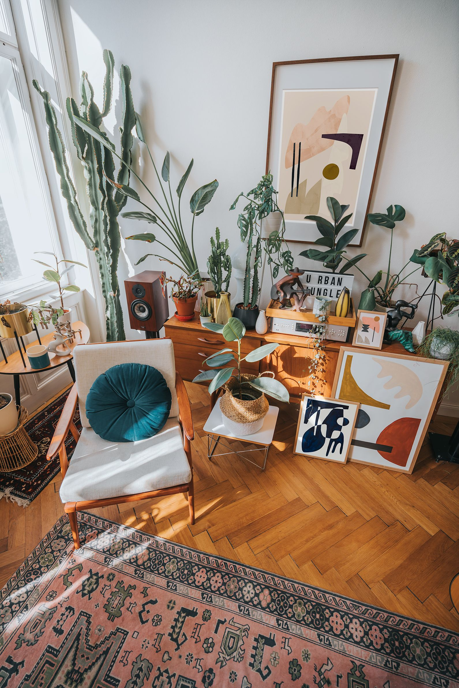 Urban Jungle Nook With Abstract Artworks Urban Living Room Urban Jungle Living Room Urban Rooms Jungle living room ideas
