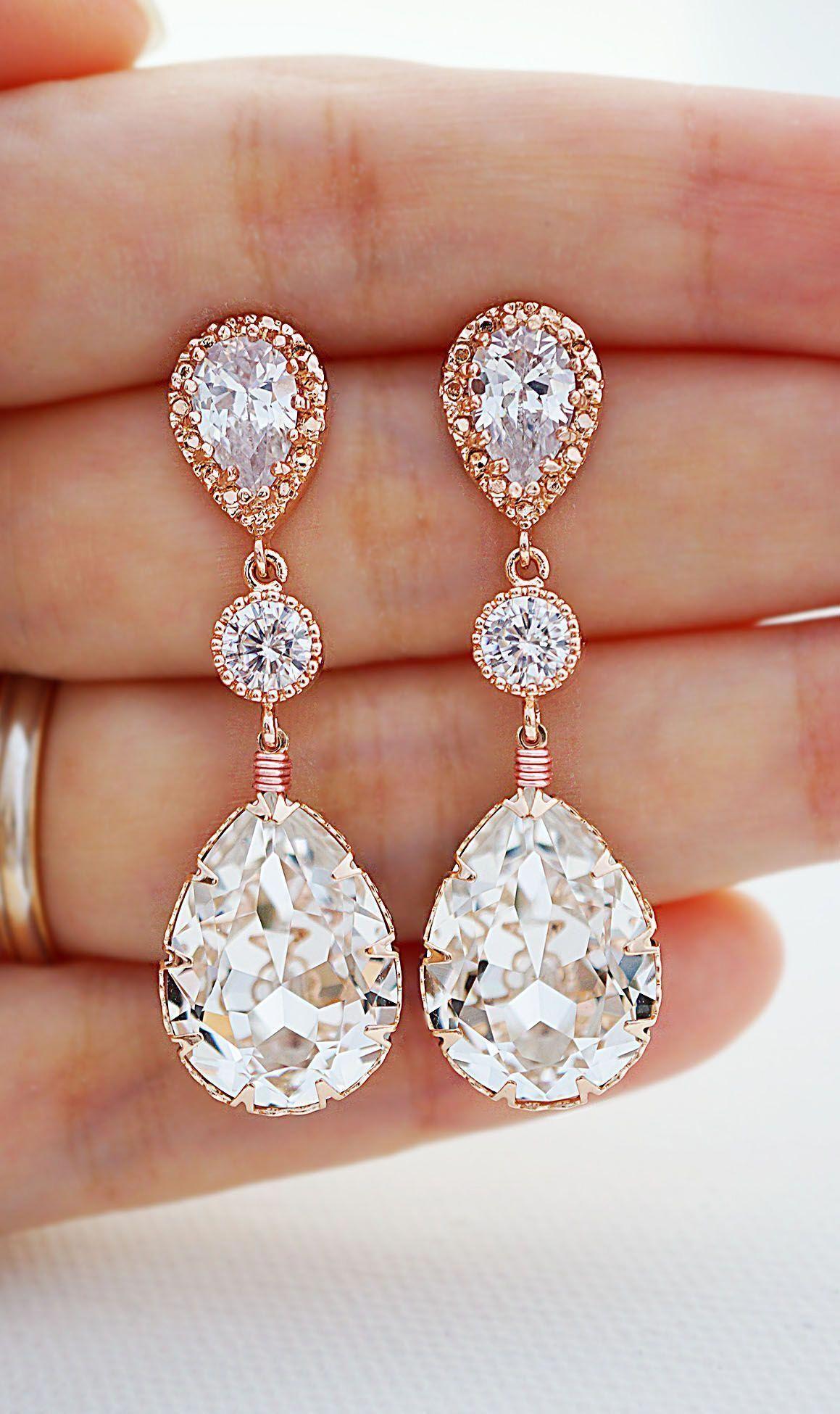 cd643821b Swarovski Crystal Rose Gold Bridal Earrings from EarringsNation Wedding  Earrings Rose Gold Weddings Blush weddings Bridal Jewelry #goldjewellery