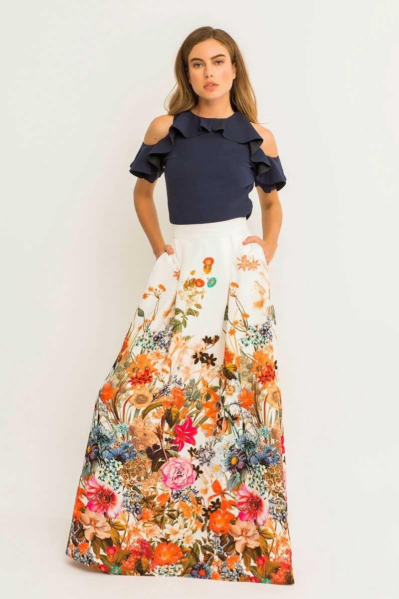 Falda Larga Estampada Flores Pandorea en 2019 | Faldas