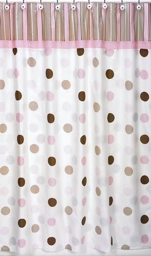 Pink and Brown Mod Dots Kids Bathroom Fabric Bath Shower Curtain ...
