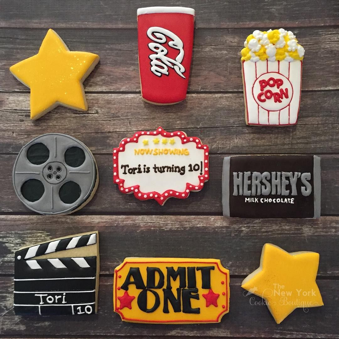 Movie Night Theme Cookies Royalicing Decoratedcookies Customcookies Movienightcookies Glorytogod Thenew Cookies Theme Birthday Movie Night Movie Themed Party