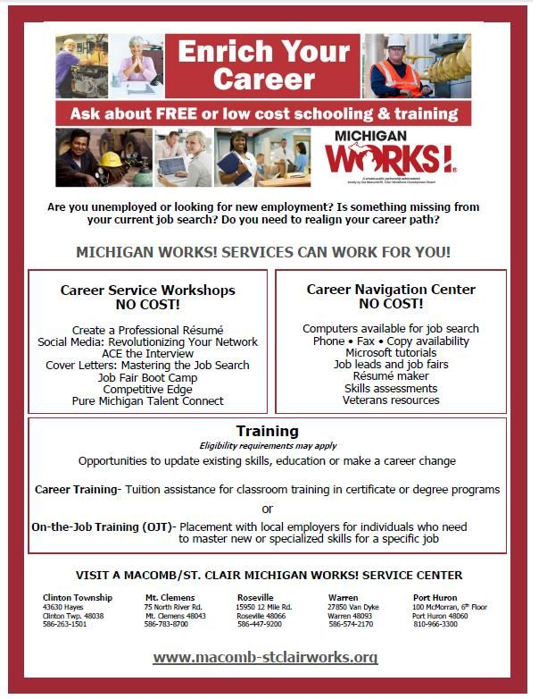 Macomb\/St Clair Michigan Works Currently has funding for training - michigan works resume builder