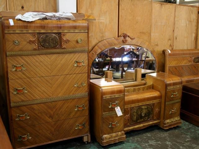 Waterfall Style Furniture Highboy Chest Vanity With Big Round 640x480 Art Deco Bedroom