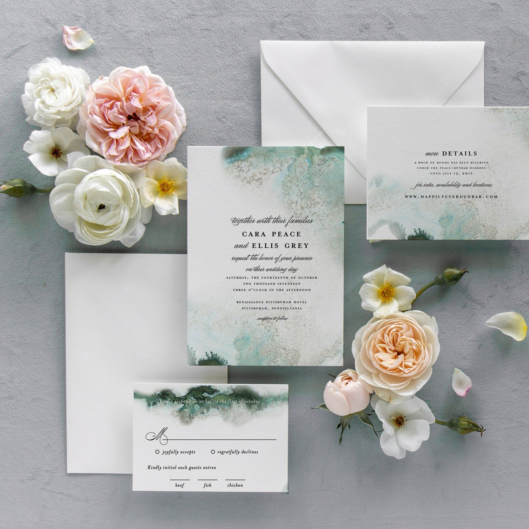 Emerald abstract wedding invitation set templates jewel