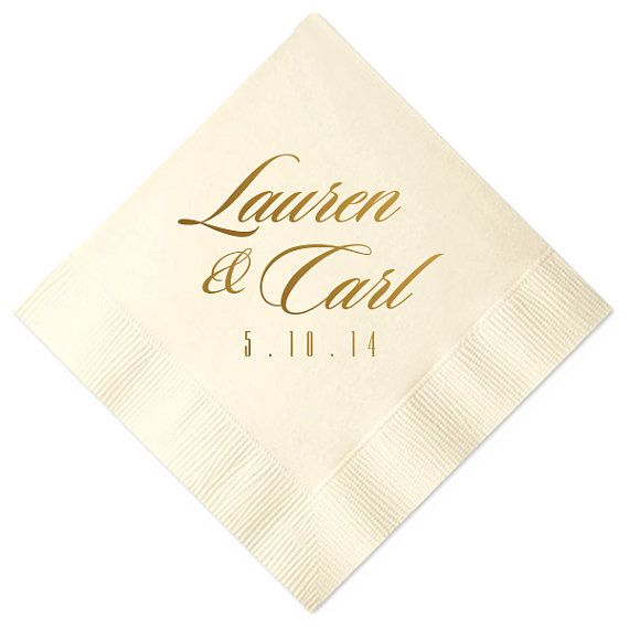 Wedding Napkins Script Personalized Beverage Favors Foil Stamped Bridal Shower Rehearsal Anniversary Tail Custom