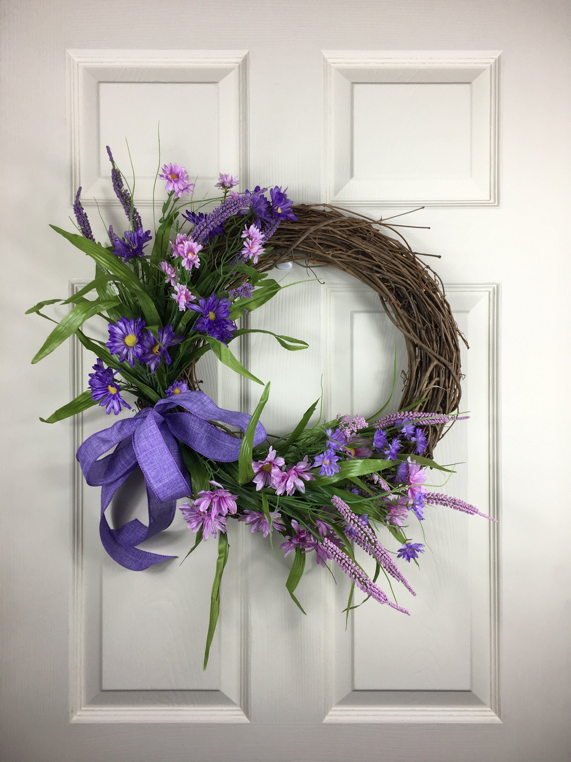 Photo of Simple vine wreath, floral wreath, front door wreath, vine wreath, purple wreath, wreath for front door, Christmas gift ideas
