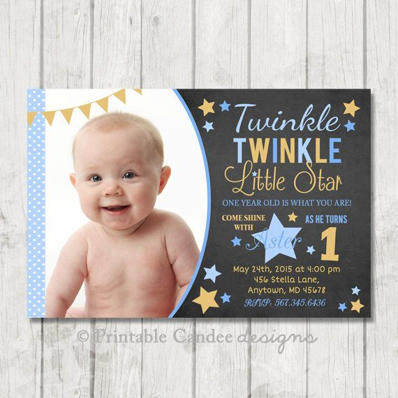 Printable Boy Birthday Invitation Twinkle Little Star Silver//Blue 1st Any Age