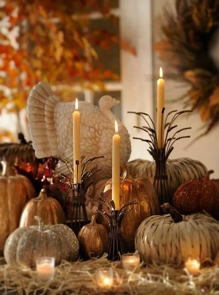 simple and easy thanksgiving centerpiece ideas using candles rh pinterest es Thanksgiving Centerpiece Arrangements Modern Thanksgiving Centerpiece Ideas