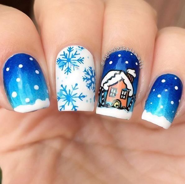 Snow Nail Art The Prettiest Snow Nails Winter Nail Designs For