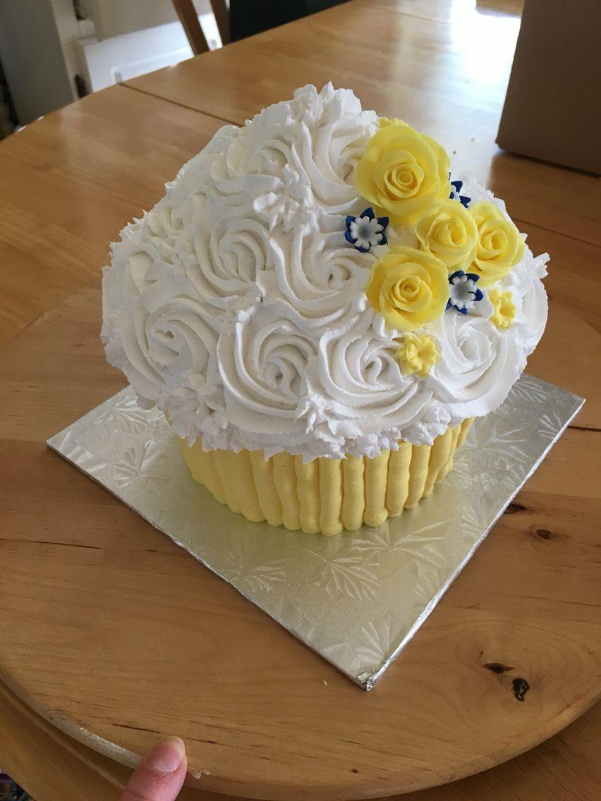 Giant cupcake gluten free.  Wedding cake topper.