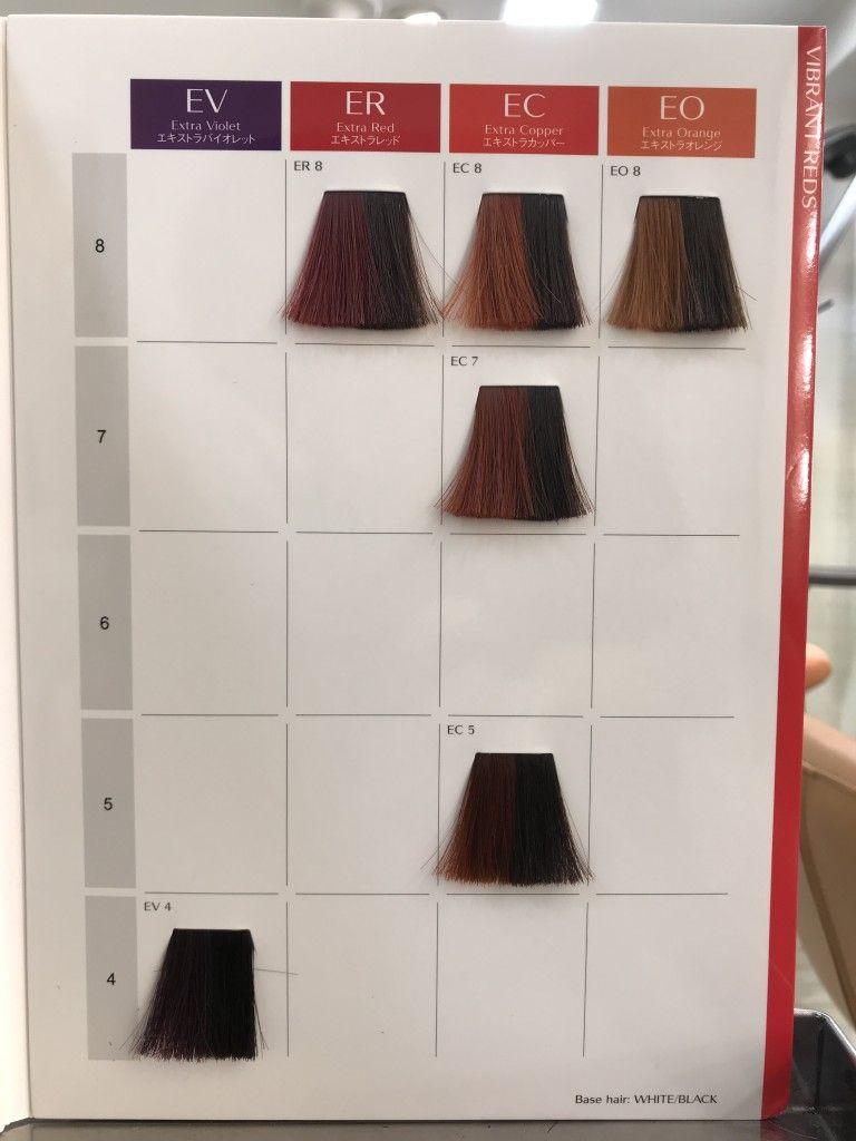 バイブラントカラー 暖色系カラーチャート ヘアカラー ハイライト