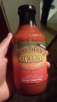 The new Deaf Man's Mango Blend BBQ Sauce.
