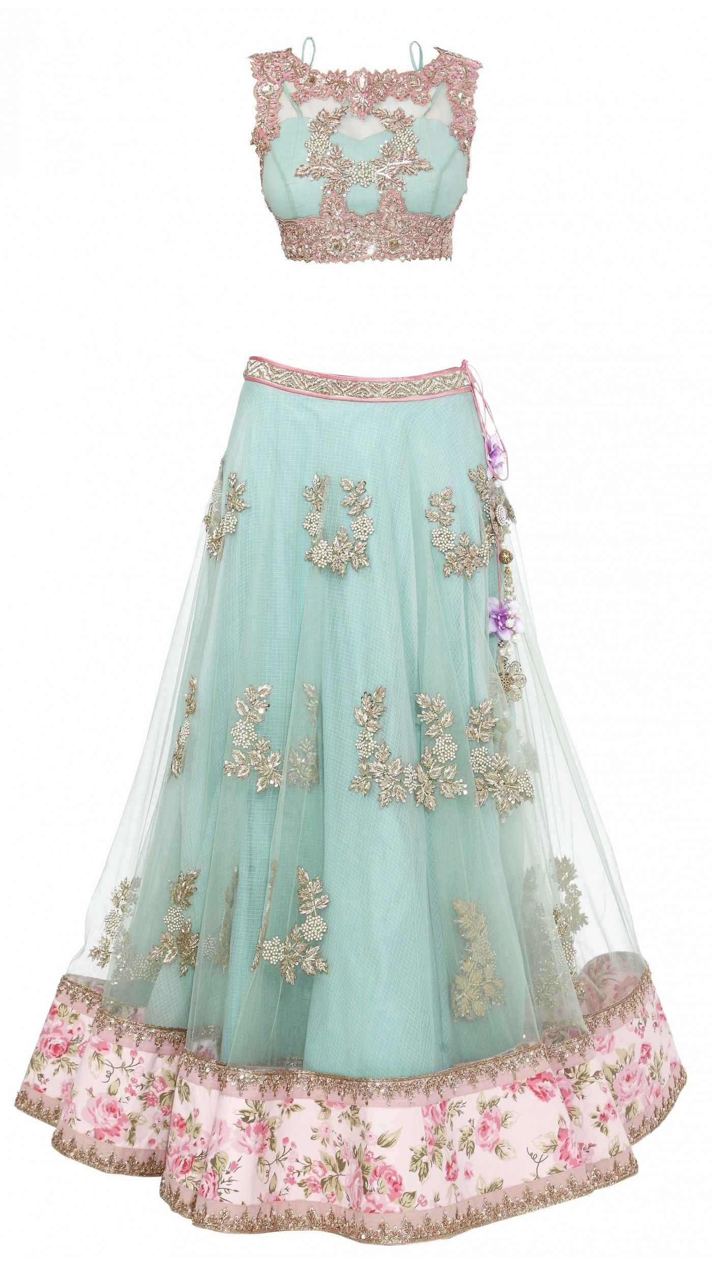 floral-lehenga-anushree-reddy [3] | Sari blouse styles | Pinterest ...