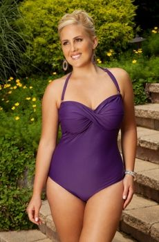 8b72f91128e9a Women's Plus Size Swimwear - Always For Me Chic Solids - Twist Bandeau One  Piece Swimsuit