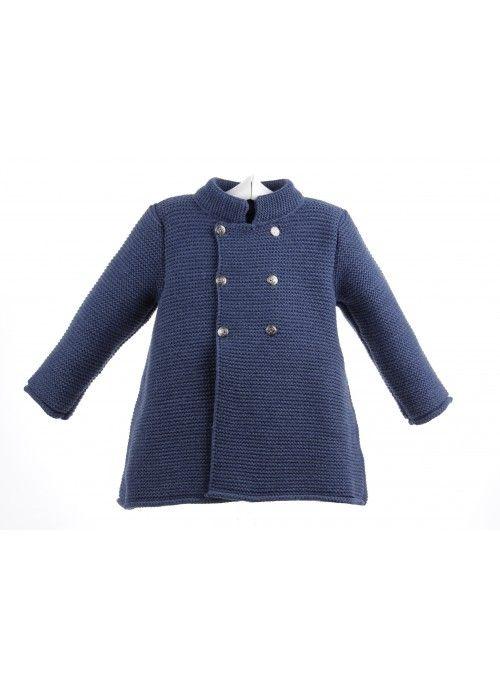 0e951c6de781 Abrigo de lana para niña de punto bobo con ochos y lazo zapatero ...