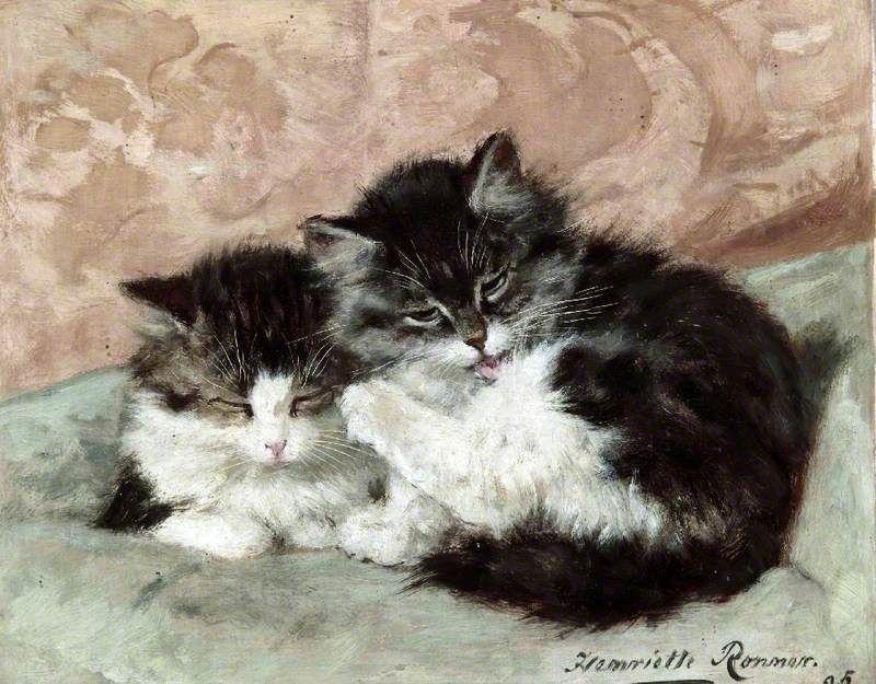 Happy Days, c1895 - The Parson's Kitten by Henriette Ronner-Knip
