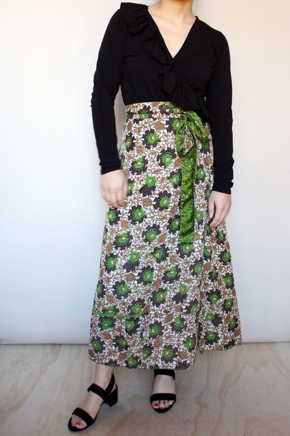 ff31a2e22 1970s Open Sized Paisley Floral Wrap Skirt // Greens Golds Browns // Reversible  Wrap Skirt // Small