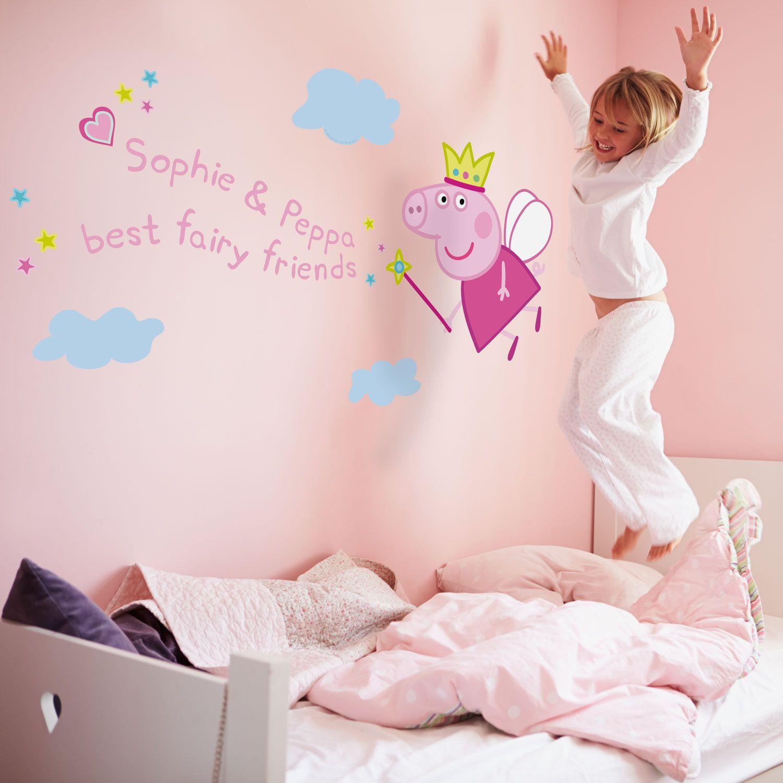 Personalised fairy princess Peppa wall sticker