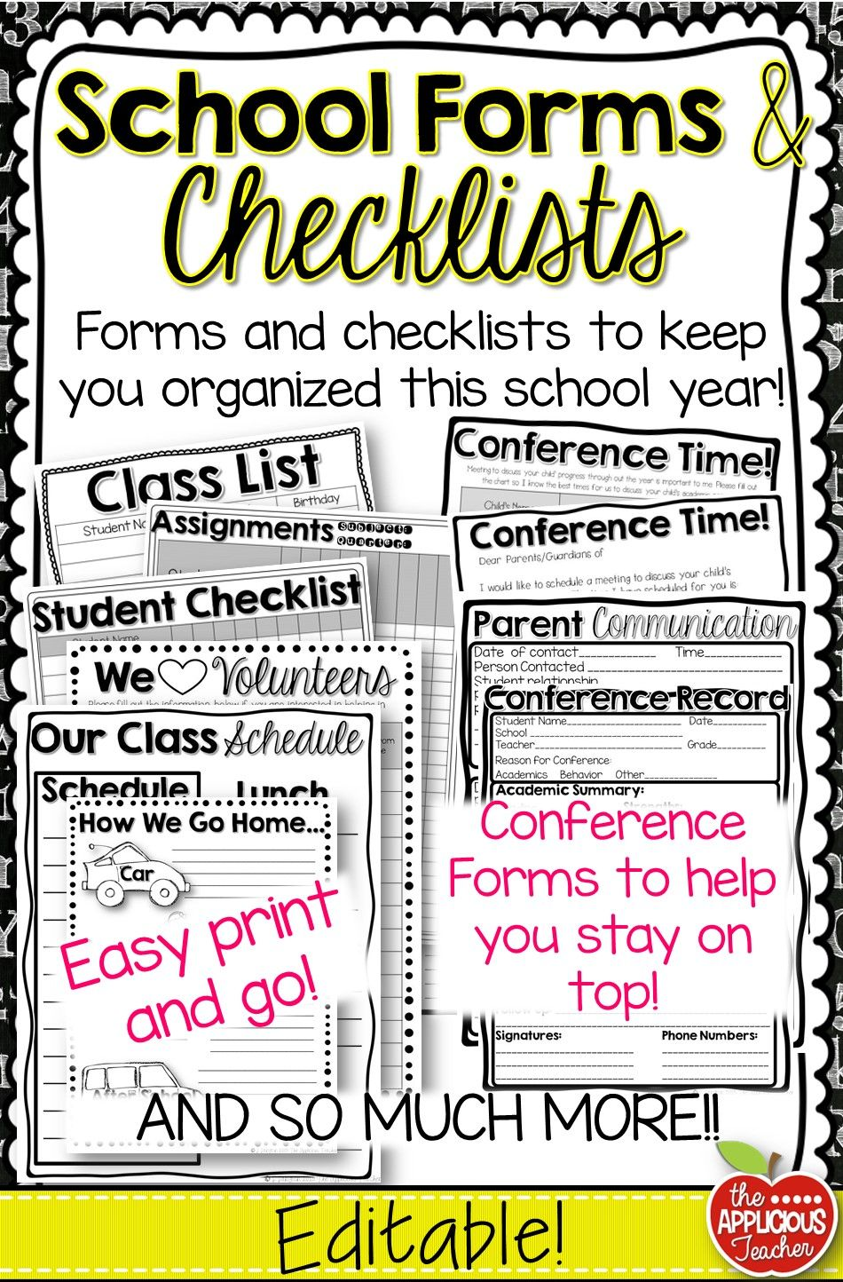 back to school forms and checklists printables and editable in 2018