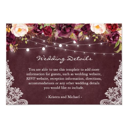 0ec6643c898 String Lights Burgundy Floral Lace Wedding Details Enclosure Card ...