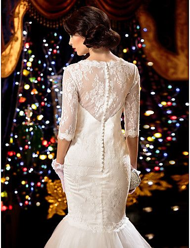 Trumpet/Mermaid Wedding Dress - White Sweep/Brush Train Scoop Lace – USD $ 189.99