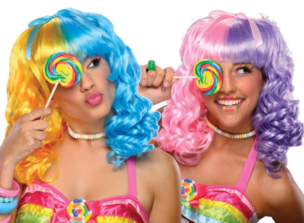 Details about Tricolor Cotton Candy Wig costume hair