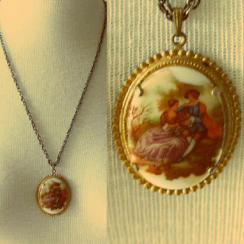 Vintage victorian picture necklace