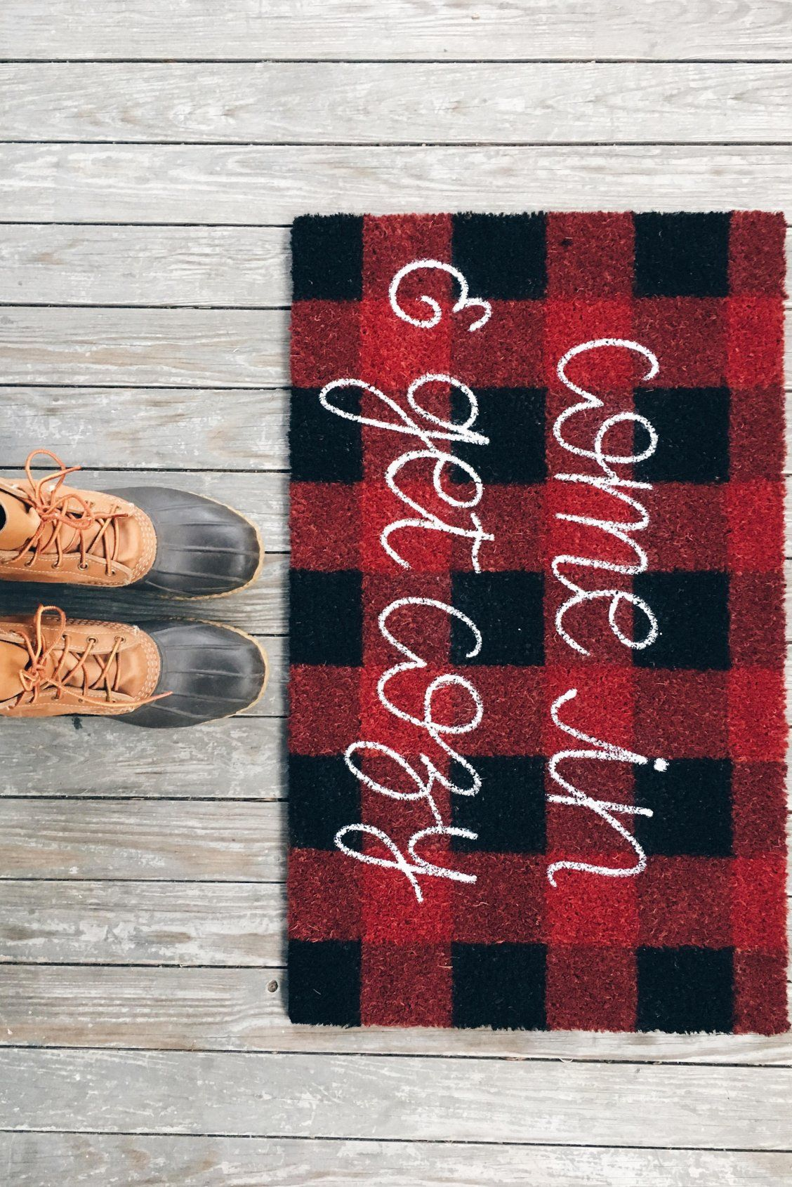 881eaaacf9821 Come In, Cozy Doormat | Calligraphy Buffalo Check Cute Welcome Mat ...