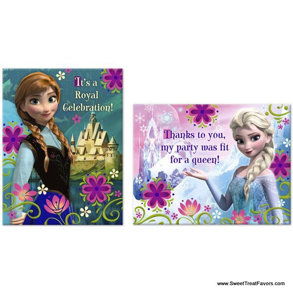 Frozen Party Invitations Thank Notes Birthday Decoration Princess - Birthday invitation frozen theme