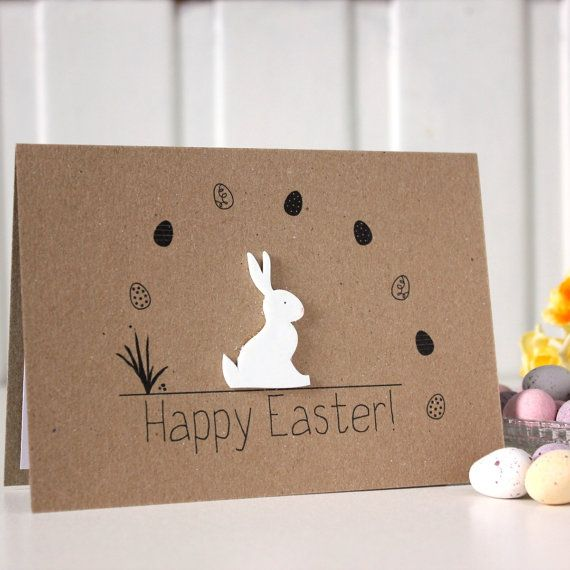 Ideas For Making Easter Cards Part - 22: Handgemachte Card Easter Bunny Card Ostern Kaninchen Card Ostern Osterhase.  Happy Easter-Card.