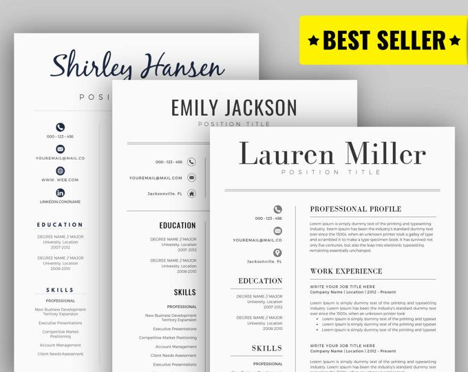 Modern Resume Template / Cv Template For Word, Cover Letter, Two