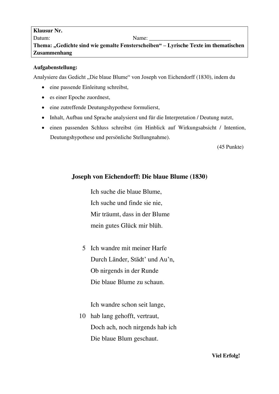 Ef Klausur Ewh Lyrik Unterrichtsmaterial Im Fach Deutsch In 2020 Liebeslyrik Lyrik Unterrichtsmaterial
