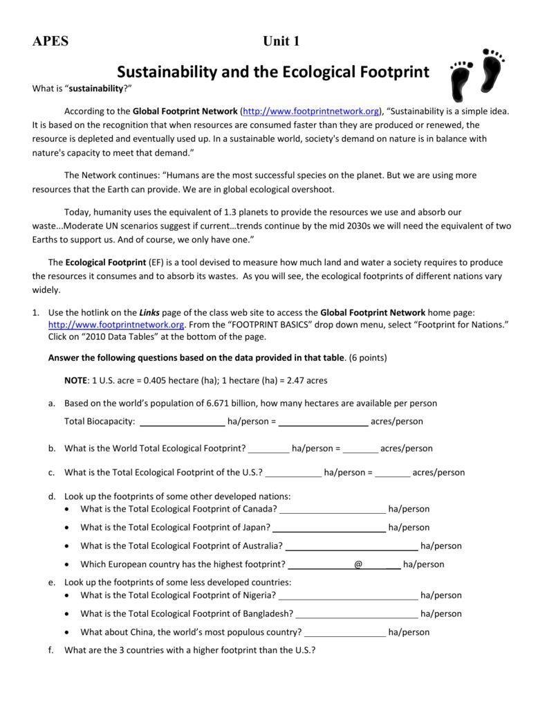 Ecological Footprint Worksheet Ecological Footprint Footprint Educational Worksheets