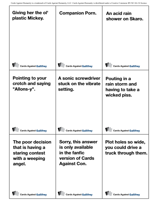 photo about Cards Against Humanity Printable known as Print out the Health care provider Who model of Playing cards In opposition to Humanity