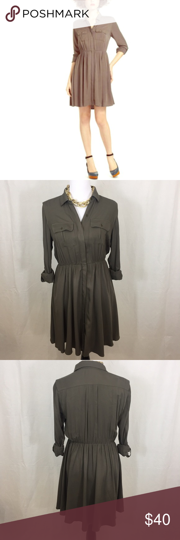 Anthro-Maeve Dakota Dress Beautiful moss colored dress. In excellent pre owned condition. No flaws. Size small. Could fit Medium. Stretch waist. Buttons down in front. Anthropologie Dresses